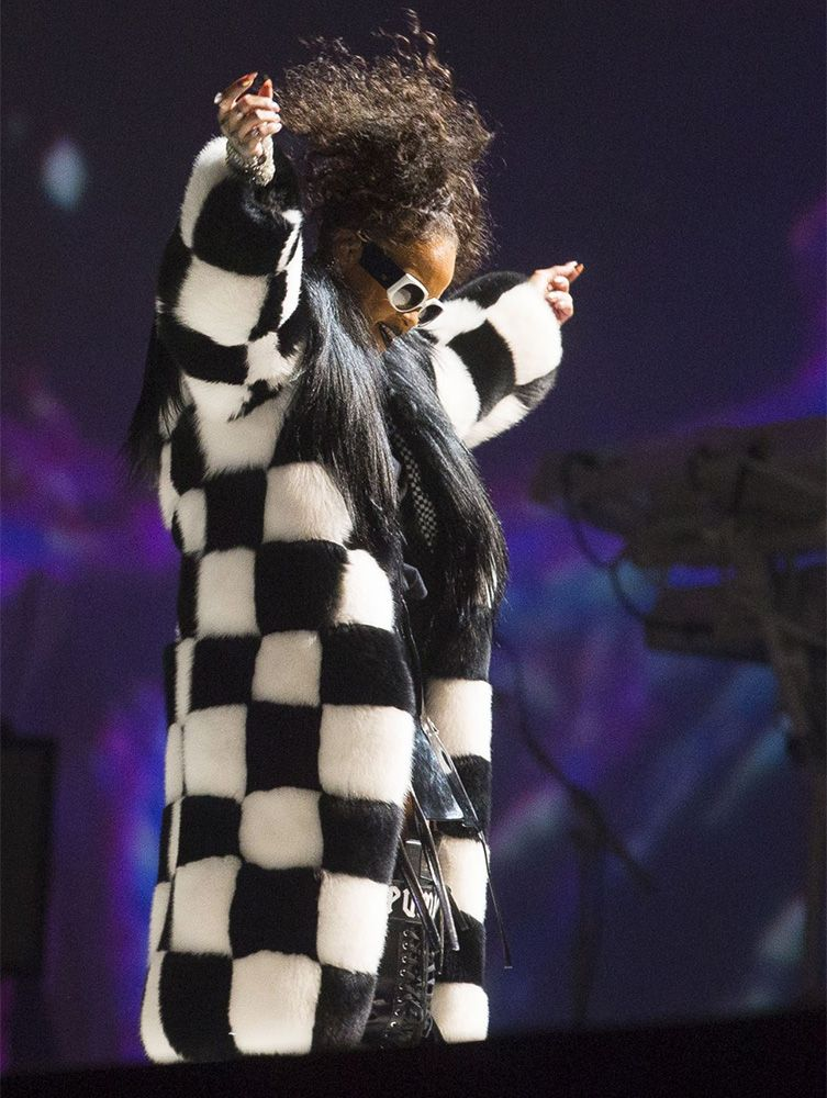 Rihanna Dilara Findikoglu black and white checkered fox fur coat, Valentino black and white vintage sunglasses