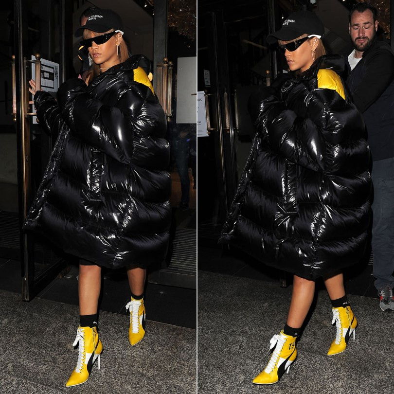 Rihanna Raf Simons oversized padded coat, Fenty x Puma Fall 2016 yellow heeled boots, Puma logo crew socks, Rihanna Dior shield sunglasses