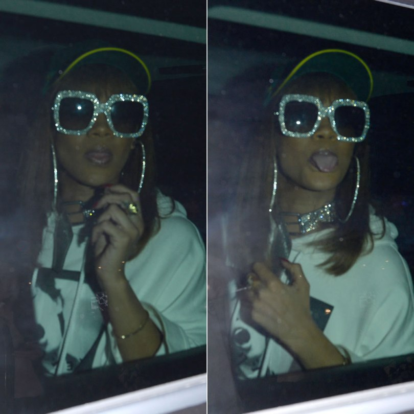 Rihanna Rolex green cap, Fenty x Puma Fall 2016 graphic hoodie, Gucci square crystal-embellished sunglasses, Fortie Label x Alexandra Hakim buckled choker