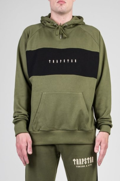Trapstar olive Irongate panel hoodie as seen on Rihanna