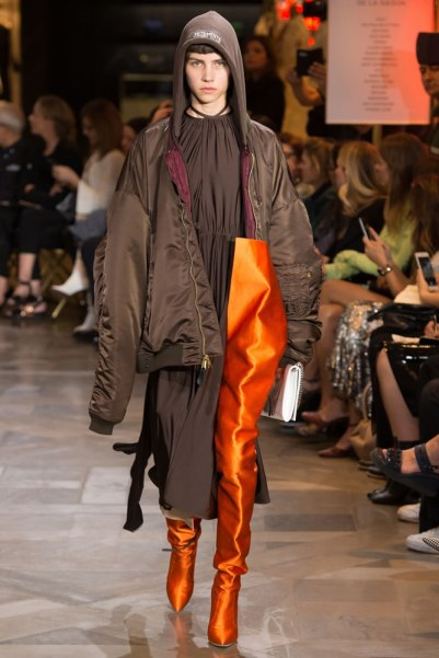 Vetements Spring 2017 menswear orange thigh-high boots as seen on Rihanna
