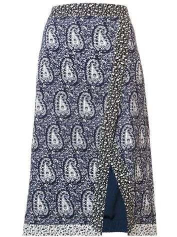 Altuzarra Jude paisley faux wrap skirt as seen on Rihanna