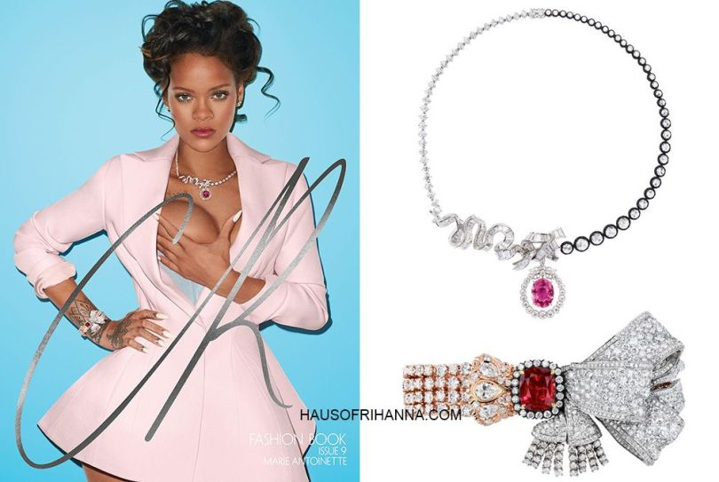 Rihanna CR Fashion Book Dior pink flared coat, salon de mercure bracelet and chambre de la reine necklace, Kunza Corsetorium silk taffeta corset