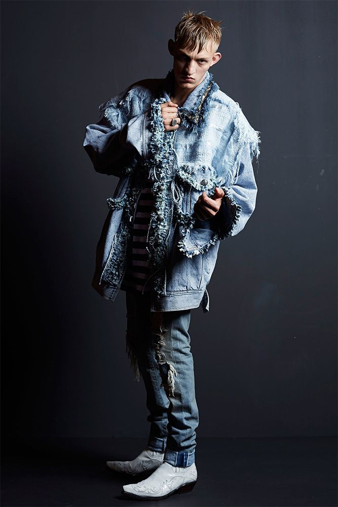 Faith Connexion Resort 2016 oversized frayed denim jacket as seen on Rihanna