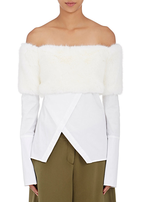 Ji Oh fur-trimmed off-the-shoulder white cotton top as seen on Rihanna