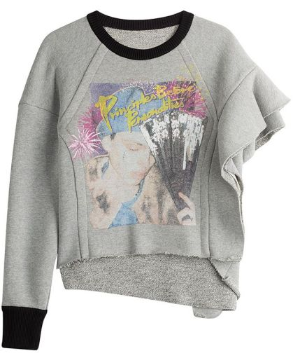 Maison Margiela one sleeve ruffled graphic sweatshirt as seen on Rihanna