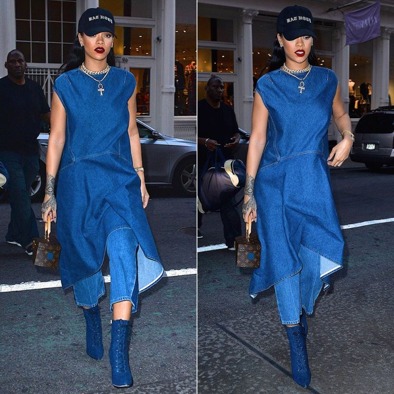 Rihanna Balenciaga asymmetrical denim dress and Rockabilly side stripe cropped jeans, Rihanna x Manolo dark wash Dancehall Cowgirl denim ankle boots, Bathory cap, Rafaello and Co diamond necklace, Louis Vuitton x Frank Gehry twisted box bag