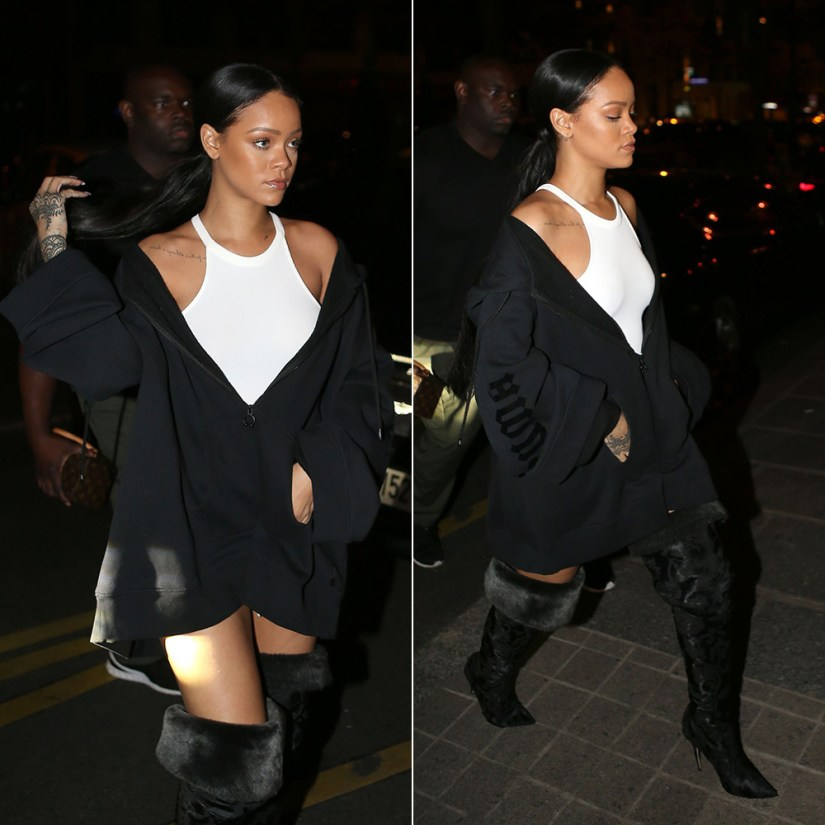 Rihanna Fenty Puma fleece zip hoodie, Rihanna x Manolo fur and suede black thigh-high boots