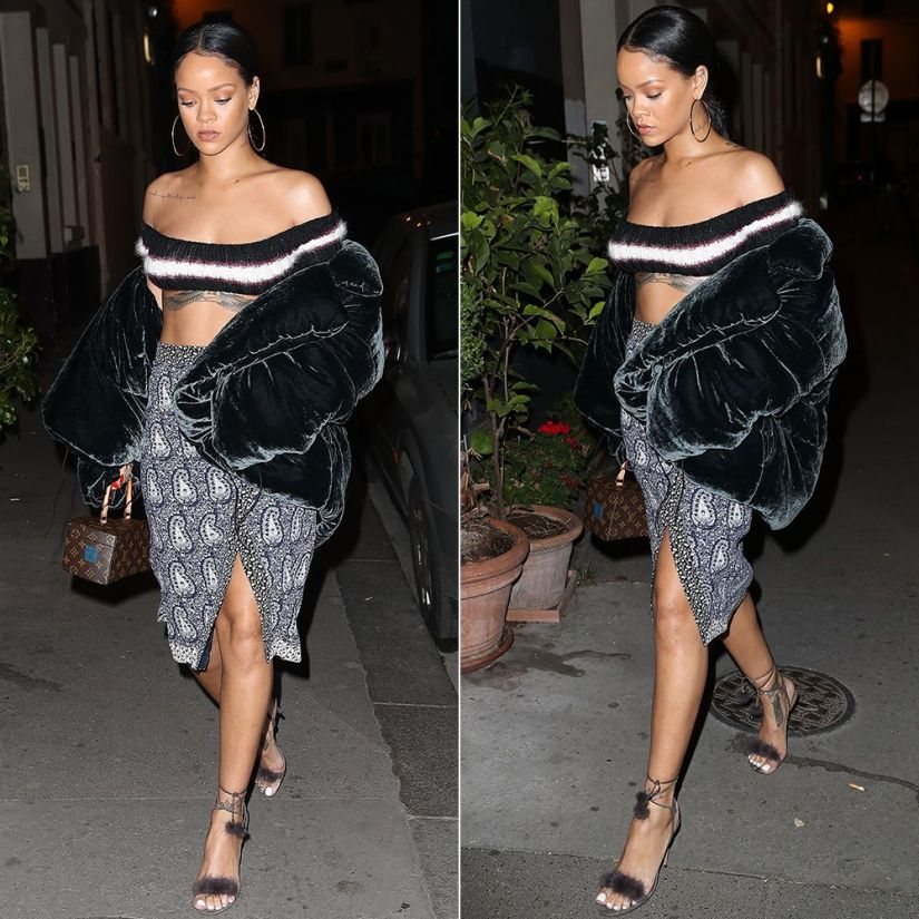 Rihanna Isa Arfen padded velvet jacket, Altuzarra Jude paisley wrap skirt, Aquazzura Wild Thing fur sandals, Louis Vuitton Twisted Box handbag