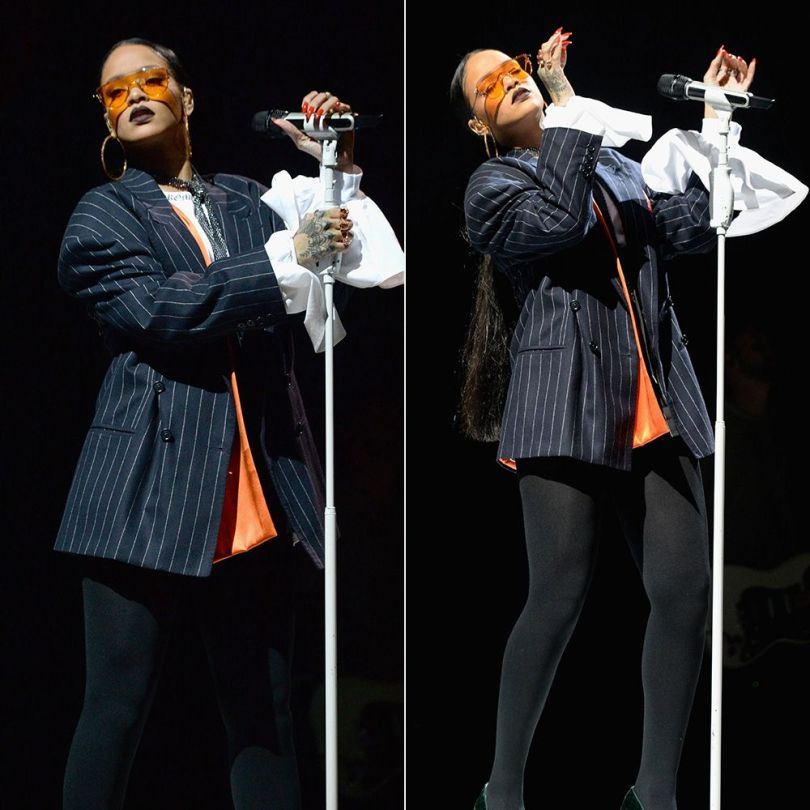 Rihanna Snow Xue Gao pinstripe jacket spring 2017, Gentle Monster Zhora Ori sunglasses, Fallon Monarch fishnet sash choker, Kerin Rose Gold crystal hoop earrings, Manolo Blahnik green suede pumps
