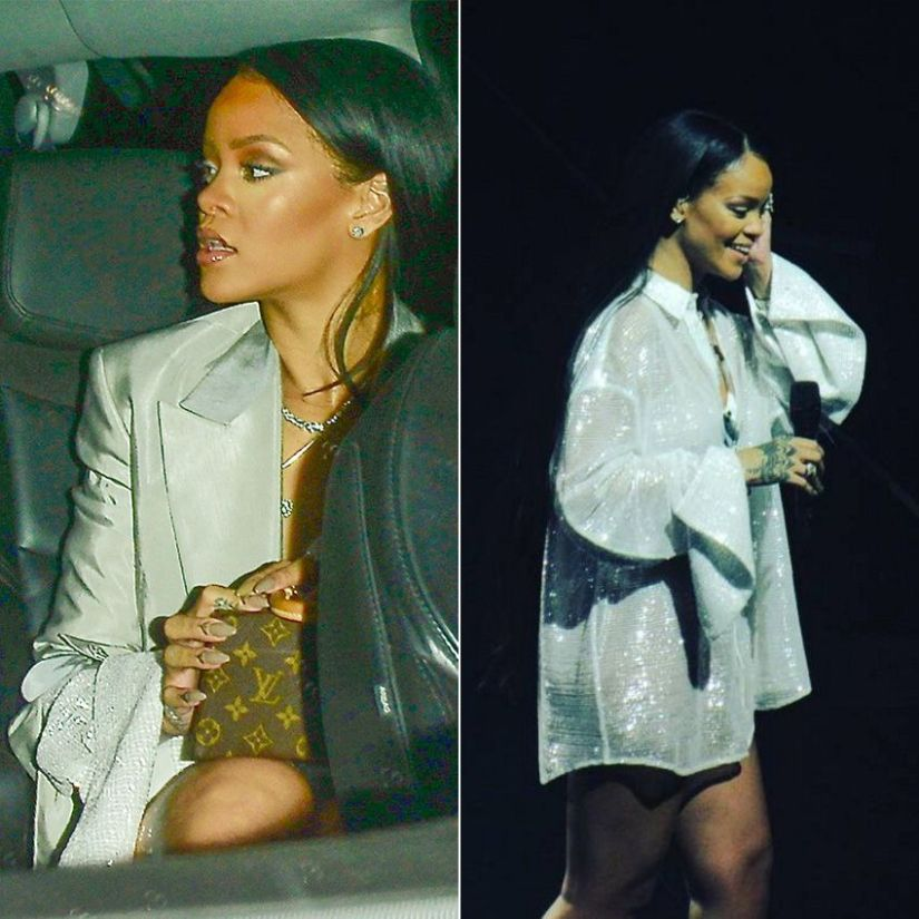 Rihanna YProject sheer sequin shirt and grey silk jacket, Louis Vuitton x Frank Gehry Twisted Box handbag