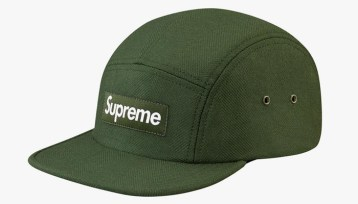 Supreme olive camp cap as seen on Rihanna