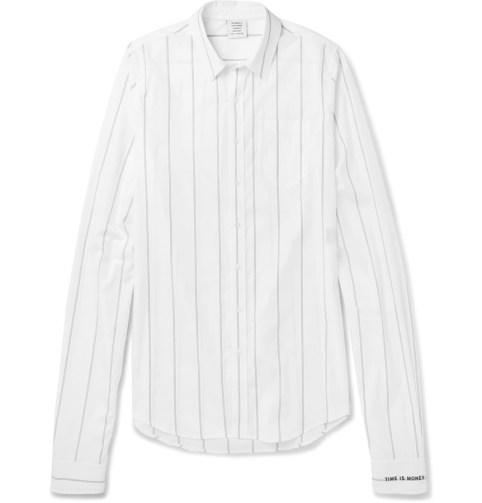 Vetements striped button down shirt as seen on Rihanna