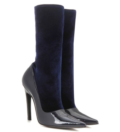 Balenciaga navy velvet sock boots as seen on Rihanna