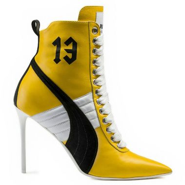 Fenty x Puma yellow high heel sneaker boot as seen on Rihanna