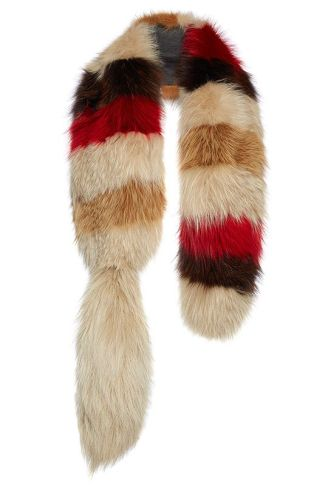 Marni striped fox fur stole as seen on Rihanna