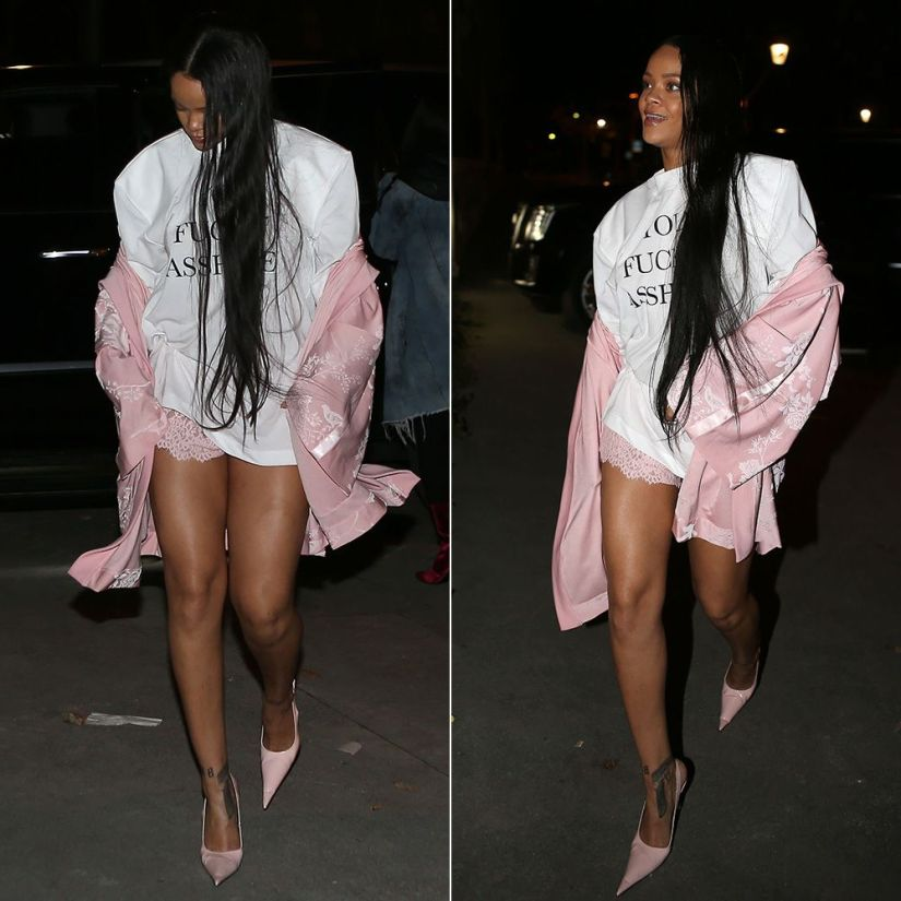 Rihanna Vetements you fuck'n asshole padded shoulder t-shirt, Fenty x Puma pink floral jacket and lace shorts, RoSa pointed toe slingback pumps