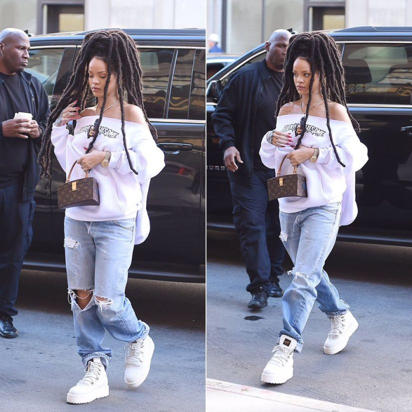 Rihanna Fucking Awesome white Break Thru hoodie, Fenty x Puma white platform sneaker boots, Louis Vuitton x Frank Gehry Twisted Box handbag