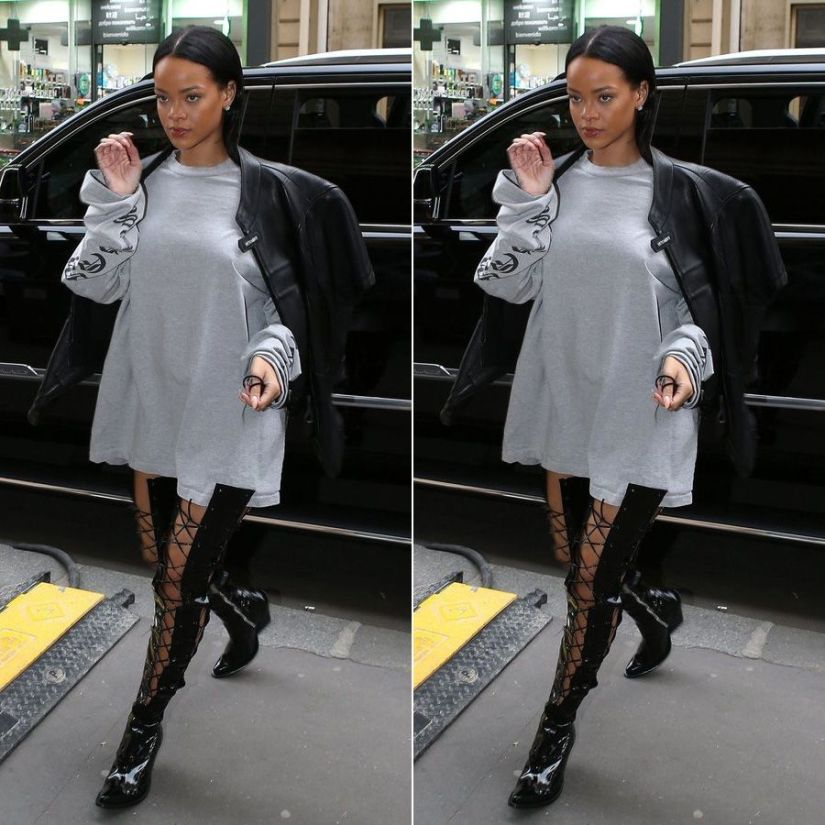 Rihanna Unravel patent thigh high boots lace-up by Ben Tarverniti, Vetements black leather moto jacket and grey oversized sweatshirt