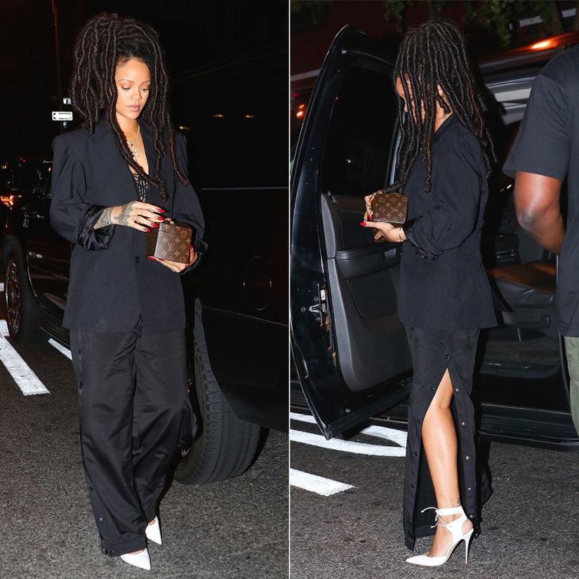 Rihanna Vetements black blazer, Fenty x Puma tearaway track pants, Manolo Blahnik Lara white pumps, Louis Vuitton Twisted Box handbag, Chopard Happy Hearts bracelet, Rafaello and Co ankh necklace