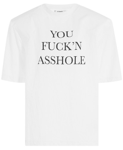 Vetements you fuck'n asshole printed t-shirt with padded football shoulders as seen on Rihanna