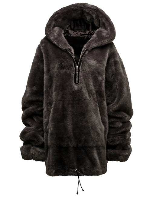 Fenty x Puma faux fur pullover hoodie as seen on Rihanna