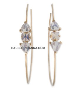 Jacquie Aiche yellow gold white opal pyramid baguette hoop earrings as seen on Rihanna