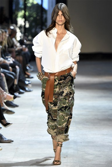 Alexandra Vauthier Fall 2016 couture camo jacket and brown leather belt as seen on Rihanna
