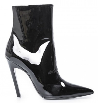Balenciaga black patent broken heel boots as seen on Rihanna