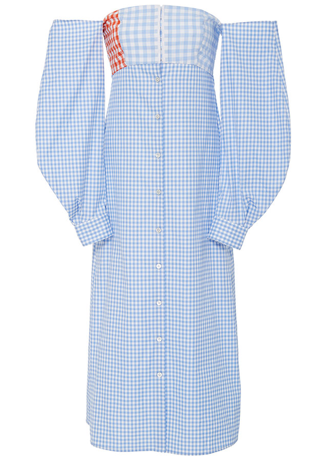 CF Goldman off the shoulder blue gingham dress Spring 2017 as seen on Rihanna