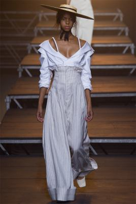 Jacquemus Spring 2017 white top and striped high-waisted trousers as seen on Rihanna