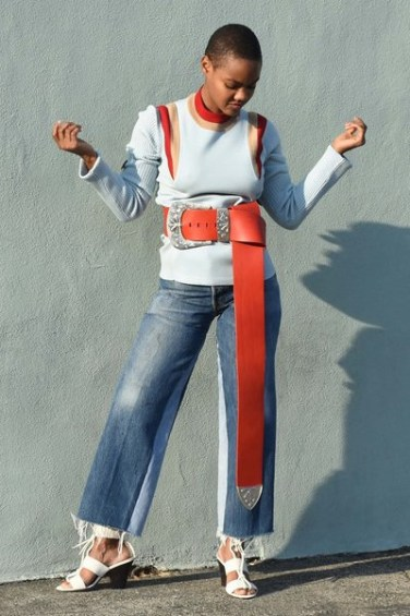 Maison Margiela oversized red western belt as seen on Rihanna
