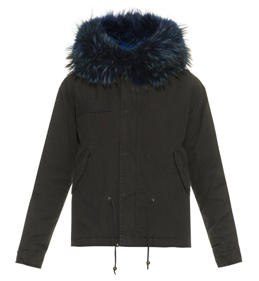Mr Mrs Italy blue fur-lined parka as seen on Rihanna