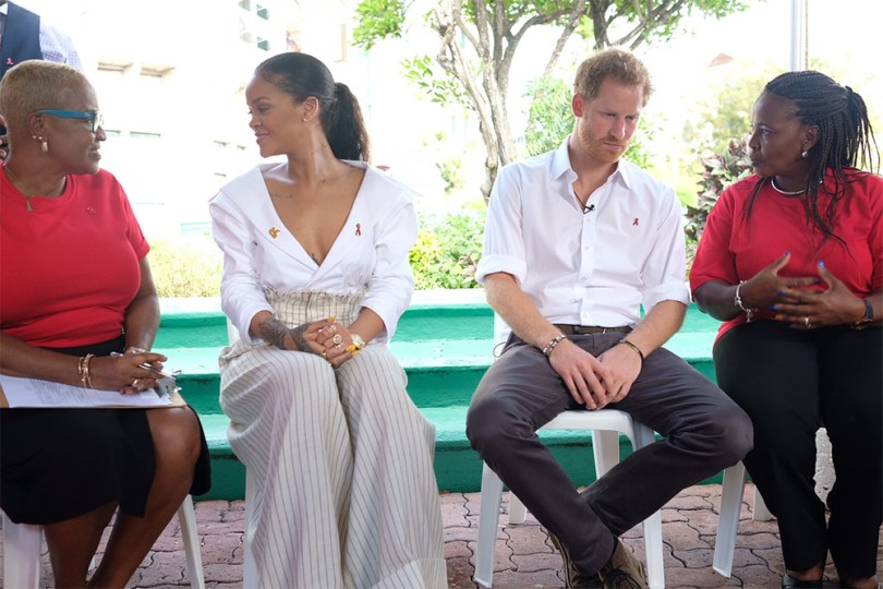Rihanna Jacquemus white top striped trousers Prince Harry World AIDS Day Barbados