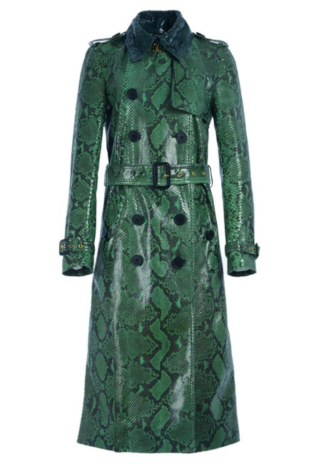 Burberry green python trench coat as seen on Rihanna