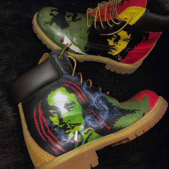 Hand-painted custom Timberland boots by Donnell McFadden Brooks as seen on Rihanna