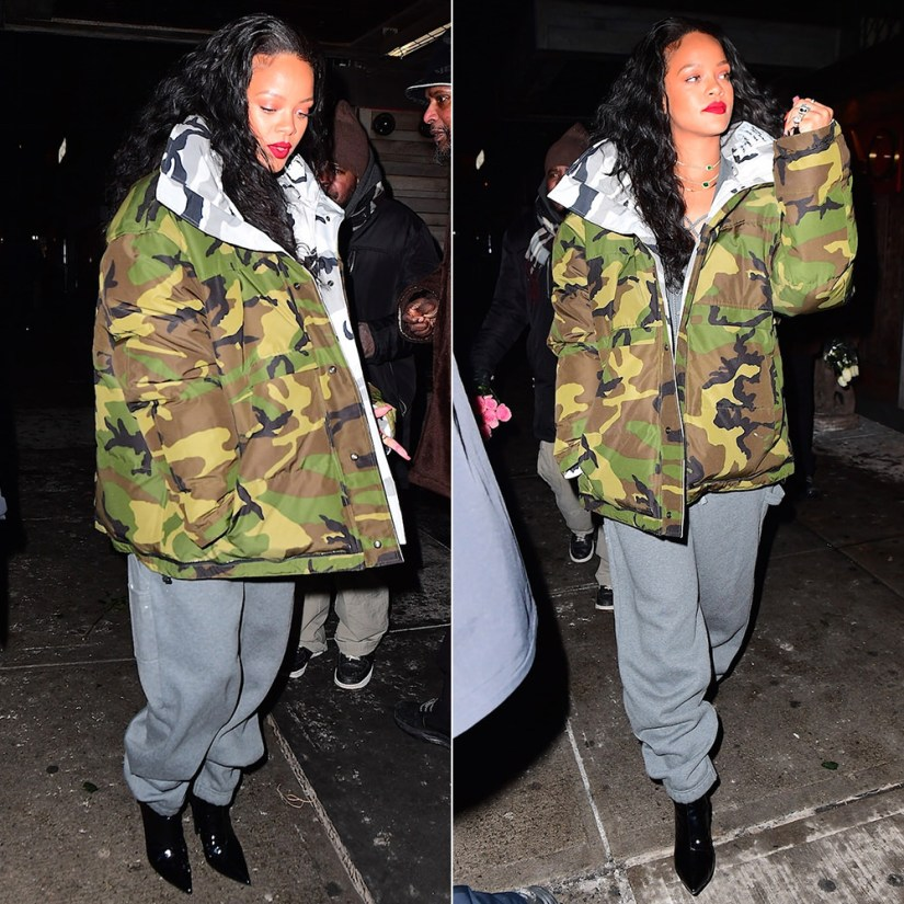 Rihanna Fenty Puma lacing fleece jumpsuit, Vetements Canada Goose reversible camo jacket, Balenciaga broken heel patent leather ankle boots, Jacquie Aiche cameo ring