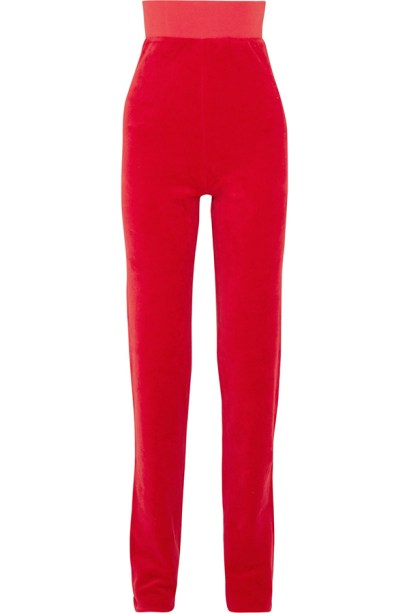 Vetements x Juicy Couture red velour track pants as seen on Rihanna