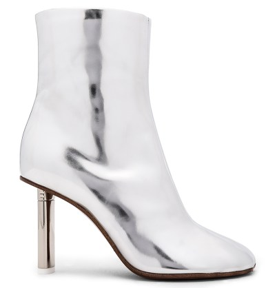 Vetements silver ankle boots as seen on Rihanna