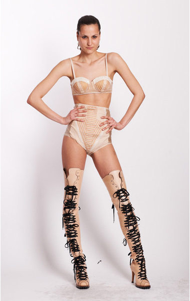 KTZ Kokon to Zai flesh lace-up thigh high boots as seen on Rihanna