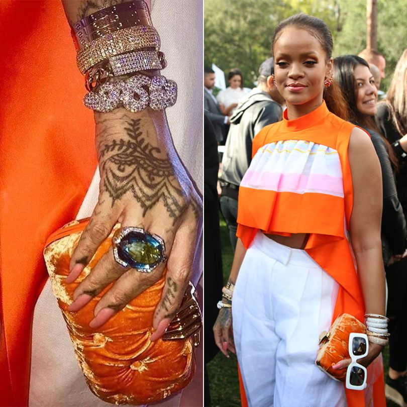 Rihanna Delpozo Spring 2017 orange striped top and white trousers, Jill Heller diamond cuffs, David Webb aquamarine ring and curly diamond cuff, Benedetta Bruziches velvet clutch, Cartier love bracelets, Jennifer Fisher snake cuff Roc Nation brunch, Fernando Jorge Bromelia earrings,