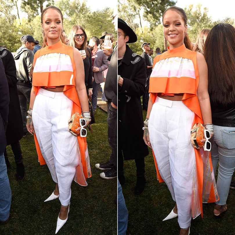 Rihanna Delpozo Spring 2017 orange striped top and white trousers, RoSa pointed toe pumps, Jill Heller diamond cuffs, David Webb aquamarine ring, Benedetta Bruziches velvet clutch, Cartier love bracelets, Jennifer Fisher snake cuff, Raen flatscreen white sunglasses Roc Nation brunch
