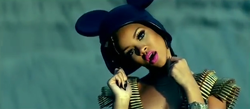 Rihanna Hard video Jeremy Scott helmet Spring 2007 mickey mouse ears