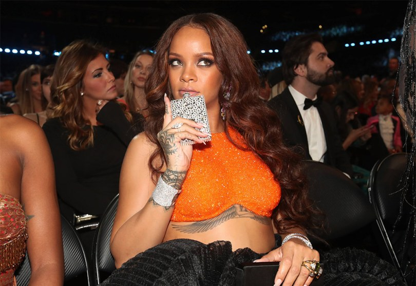 Rihanna Rio Warner crystal flask Grammy Awards 2017
