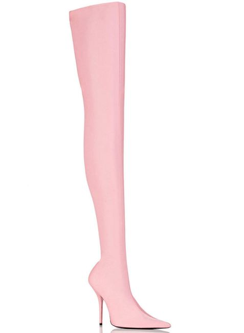 Balenciaga Indemallable pink thigh high neoprene boots as seen on Rihanna