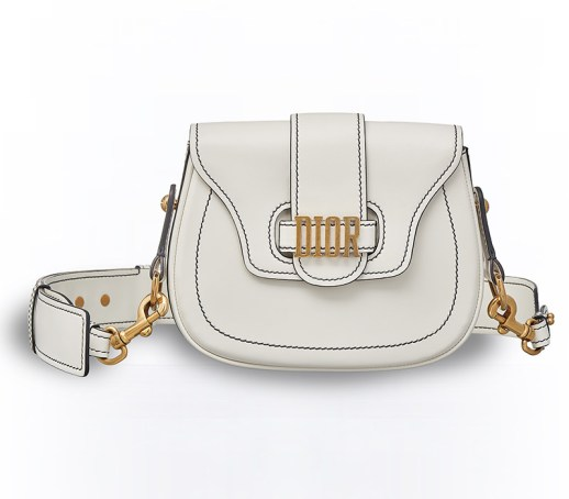 Dior D-Fence white saddlebag as seen on Rihanna
