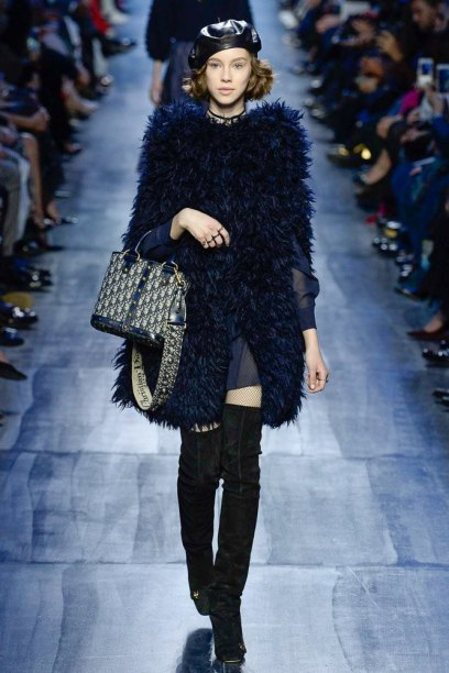 Dior Fall 2017 beret and suede thigh-high boots as seen on Rihanna