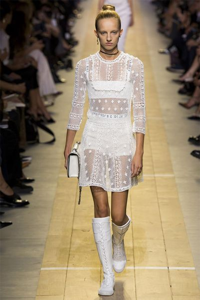 Dior Spring 2017 J'adior bra and knee-high white boots as seen on Rihanna