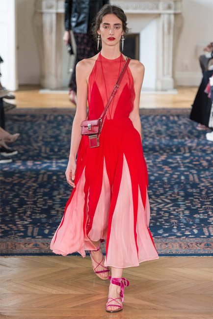 Valentino Spring 2017 red sleeveless pleated gown as seen on Rihanna