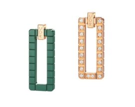 Rihanna Loves Chopard rose gold, green ceramic and diamond earrings